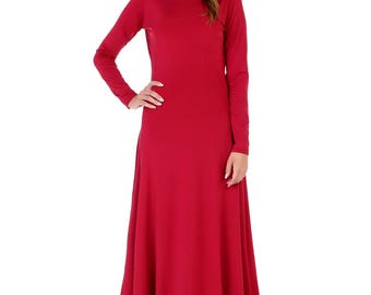 Burgundy Backless Maxi Bodycon Dress  Round Neckline Long Sleeves
