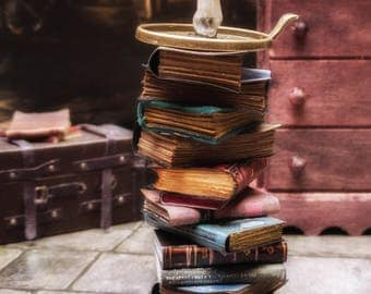 Pile/ stack/ set of miniature paper books one leather in 1:12 scale-Detailed shaped spines-Candle-Holder-Book of ghosts-Beast-Diderot-Floral
