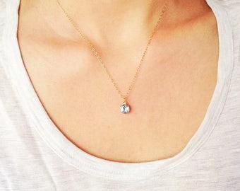 Light sapphire necklace, minimalist necklace, gold dainty necklace, september birthstone necklace, september jewelry, sapphire jewelry