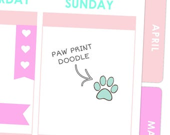 Paw Prints Pet Doodle Stickers / Planner Stickers