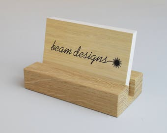 Oak Business Card Holder, Wooden Business Card Display, Office Accessories, Reception Desk, Craft Stall Display, Retail Display, Card Stand