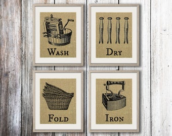 Wash Dry Fold Iron   Set Of 4 Burlap Prints   Laundry Room Decor   Laundry Part 76