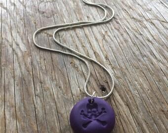 Purple Skull & Crossbones Pendant Necklace
