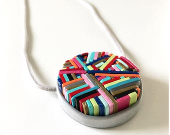 Macro mosaic pendant - handmade with polymer clay, hung on extra long gray suede cord