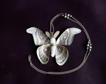 White-brown butterfly pendant,fiberart, soft sculpture,