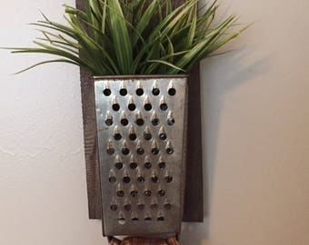 Rustic kitchen decor, reclaimed lumber with vintage grater