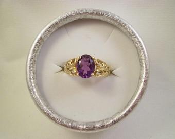 10kt Gold Amethyst Ring, Size 9, Vintage 90's