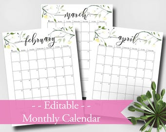 """2018 Calendar Printable, Editable, Monthly Pages, Letter Size 8.5"""" x 11"""" Instant Download"""