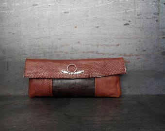 Lizard and snake leather clutch (Atargatis)