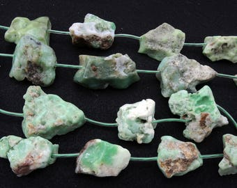 All Natural Australian Chrysoprase Chunky Raw Nugget Beads