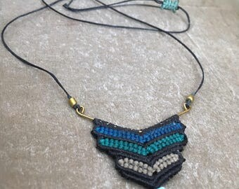 Navy Blue & Turquoise Necklace