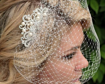 Pearl Birdcage Veil | Bridal Veil | Bridal Comb | Bird Cage Veil | Hair Fascinator | Bridal Hairpiece | Wedding Veil | Birdcage Hairpiece