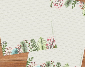 Christmas leaves - DOWNLOAD file - Printable Writing paper - A5 size
