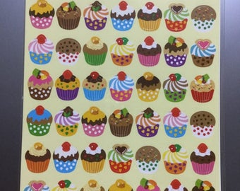 Cupcake Stickers - 56 Peel Off Stickers - Reference C3649-53C3792-93C3896-98