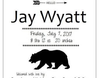 Woods Animals Silhouette BIRTH ANNOUNCEMENTS  - owl, deer, bunny, butterfly, bear, or hedgehog