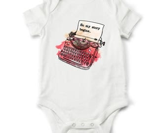 Baby shower gift My story begins... baby bodysuit for baby boys or baby girls