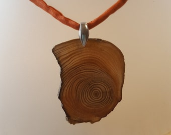 Driftwood chain pendant with silk ribbon