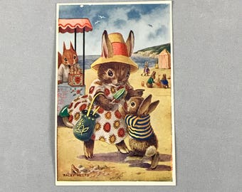 FREE SHIPPING - Vintage Medici Unused Postcard - At The Seaside -Beach - Racey Helps - Pk 316 - Rabbits Woodland - English - Anthropomorphic