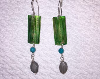 Green patina dangle earrings with labadorite and turquoise gemstones