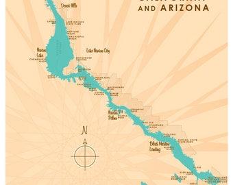 Lake Havasu CA AZ Map Print