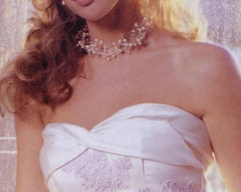 Crystal and Pearl Necklace, Bridal and Evening wear, Available in white or ivory coloured pearls