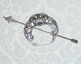 Celtic Shawl Pin Silver Penannular Mimimalistic Brooch Vintage Hammered Minimalist  Cloak Style Scarf Pin Outlander Stick Pin