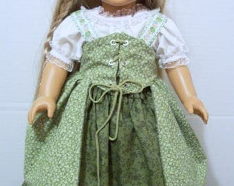 17th Century Dress Green Peasant Dress American Girl Dolls 18 inch Dolls Historical Clothes Complete Outfit My Life Dolls Our Generation