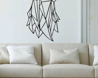 wall stickers wall decals wall art wall decor stencils wolf wolf geometric design living room living room