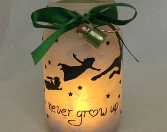 Peter Pan Mason Jar Lantern - Peter Pan Luminaire - Flameless Votive Holder - Mason Jar Nightlight