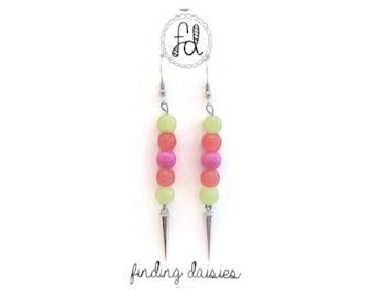 Neon Spike Earrings, Silver Spike Earrings, Hot Pink Earrings, Neon Orange Earrings, Neon Yellow Earrings, Neon Bead Earrings, Neon Earrings