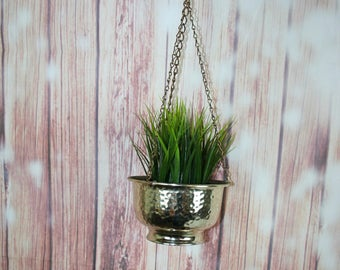 Vintage Hammered Brass Plant Pot Hanger, Hanging Plant holder. Air plant pot. Shiny