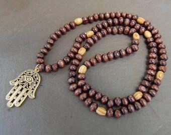 Hamsa Hand Necklace,Wood Beads,Judaica Symbols,Kabbalah Necklace,Man,Woman,Good Luck,Pray,Spirituality,Prayer,Yoga,Protection,Meditation