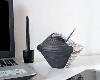 Wedding Anniversary for Husband Black Paper Pencil Pot for Him Office Décor Personalised with Custom Engraving