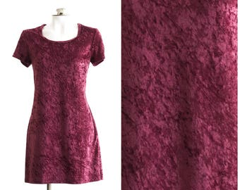 1990s short wine colored crushed velvet short sleeve dress