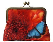 Orange Chrysanthemum Flower and Blue Butterfly Satin Silver Tone Clasp Frame Clasp Clutch Purse Evening Bag