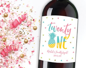 21st Birthday Wine Label, Pineapple Birthday Label, Twenty One and Legal, Milestone Birthday, 21st Birthday Gift, Birthday Champagne Label