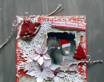 Christmas card, new year greeting card, handmade, 3D, shabby, squirrel theme.