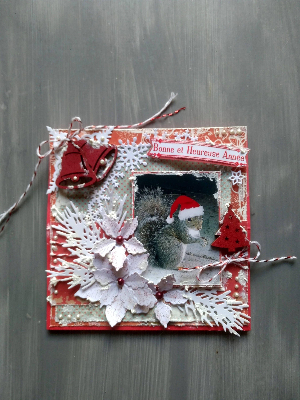 Carte de no l nouvel an carte de voeux fait main 3d - Carte de noel fait main ...