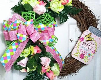 Spring Grapevine Wreath, Floral Grapevine Wreath, Easter Grapevine Wreath, Rose Wreath, Pink,Green Wreath