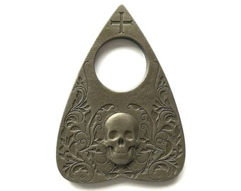 Planchette featuring Skull design with Antique Bronze Finish, For Use With Ouija Board, Necklace, Jewelry