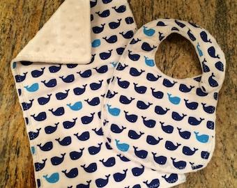 Whales bib and burp cloth set