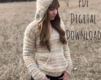 The Butterbeer Pullover PDF DIGITAL DOWNLOAD Crochet Pattern, crochet hoodie pattern, women's hoodie crochet, crochet sweater pattern, hood