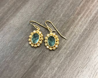 Meggy Earrings | Aqua | 18k Gold Plated to .925 Sterling Silver Drop Earrings with Cubic Zirconia