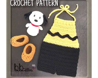 Charlie Brown Inspired Baby Outfit - PATTERN ONLY - Crochet - Size Newborn-12 month
