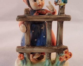 Goebel Hummel Figurine - Signs of Spring Figurine, Girl at Fence - TMK 4 - *slight damage to base*