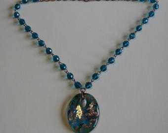 Teal Necklace with  Murano Glass Pendant