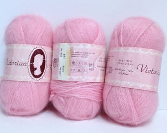 Pink Mohair Yarn Vintage Victorian Angel Yarn L.O.C. Mohair Blend Bright Tea Rose Pink Mohair for Fine Knitting or for Fiber Art Work