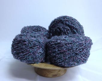 Blueberry Raspberry Boucle Yarn Cakes for Knitting, Crocheting or Fiber Art Projects, Craft Supply for Embellishment Large Yarn Cakes Bundle