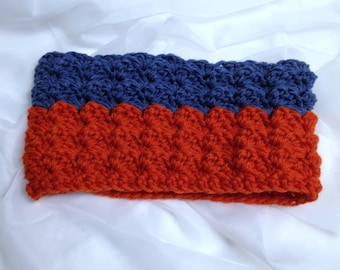 The Edmonton Scarf Winter Cowl Thick Orange & Blue Accessory Handmade Cowl Thick Blanket Stitch Crocheted Scarf for Him or Her READY TO SHIP