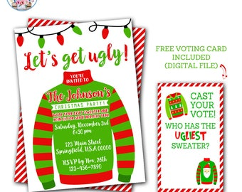 Ugly Christmas Sweater Invitation, Ugly Christmas Sweater Party, Ugly Sweater Invitation, Ugly Sweater Party Invitations